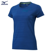MIZUNO 女裝 短袖 上衣 T恤 慢跑 路跑 吸汗快乾 反光燙印 寶藍【運動世界】J2TA020322