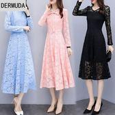 大碼蕾絲連身裙新款韓版名暖長袖圓領中長款修身顯瘦女裝裙子 降價兩天