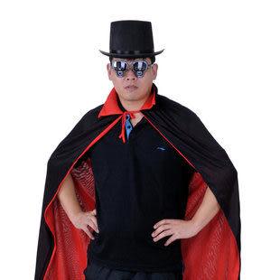 萬聖節大人兒童服裝 黑紅披風+魔術帽+鬼頭眼鏡367g