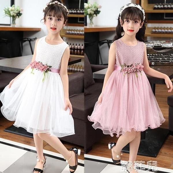 女童連身裙 新款女童裝兒童夏裝公主裙子小女孩蓬蓬紗裙中大童夏季連身裙 韓菲兒