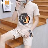 (交換禮物)大尺碼中國風套裝 盤扣男士領短袖套裝 立領唐裝修身復古短褲 兩件套