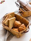 野餐籃 日式手工木片編織收納籃創意木片籃面包籃水果蔬菜籃子藤編籃MJ
