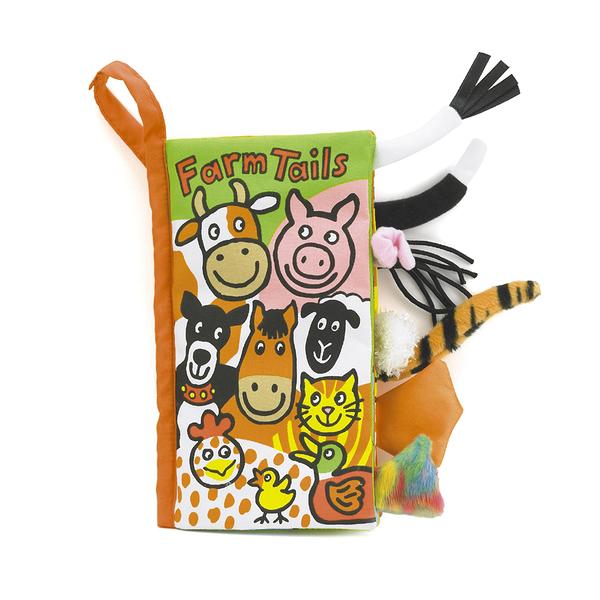 【愛吾兒】英國 JELLYCAT 感官刺激布書 Farm Tails 農莊動物尾巴書
