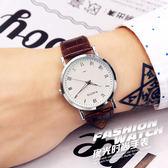 時尚韓國韓版手錶女學生防水簡約潮流皮帶男表石英表情侶手錶一對