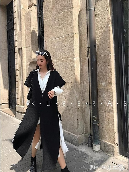 KUBERAS/【高甜瞬間】V領黑色針織馬甲流蘇背心中長款馬甲外套女 第一印象