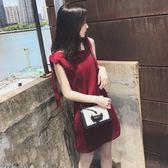 洋裝 裙子韓版酒紅色無袖連身裙女露肩小個子短裙 糖果時尚