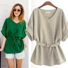 歐美女裝蝙蝠袖V領襯衫女寬鬆大碼綠色收腰棉麻上衣 秋季新品