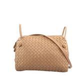 【BOTTEGA VENETA】小羊皮Intrecciato小型編織側背包(拿鐵色) BV14000006