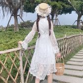 春季女裝韓版氣質修身顯瘦仙女裙刺繡長袖蕾絲裙連衣裙打底裙長裙