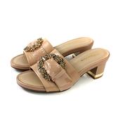 HUMAN PEACE 拖鞋式涼鞋 奶茶色 粗跟 女鞋 65234 no301