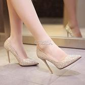 晚禮服高跟鞋女生新款金色細跟季18歲銀色尖頭水鉆婚紗鞋 快速出貨