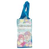 小禮堂 雙子星 方形尼龍保冷水壺袋 保冷杯袋 環保杯袋 飲料杯袋 (藍 橫紋) 4713218-20255