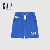 Gap男幼童 碳素軟磨系列 Logo法式圈織休閒短褲 796715-藍色