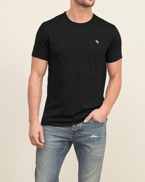 【蟹老闆】Abercrombie&Fitch 美國 麋鹿 logo 極簡純粹素T 短袖T恤 A&F 黑色 另有白/灰/深藍