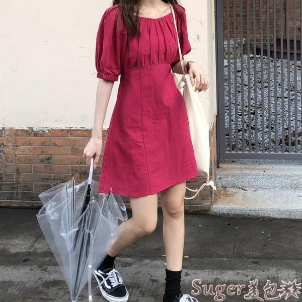 棉麻洋裝 烏77炒顯白玫紅色棉麻連身裙女2021新款韓版修身顯瘦壓褶中長裙春 新品