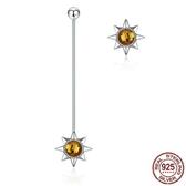 耳環 925純銀-水晶精美太陽不對稱時尚女飾品73oh45【時尚巴黎】