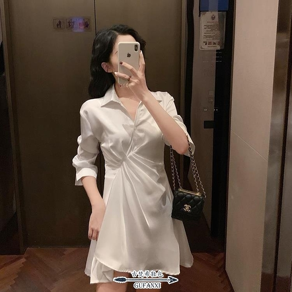 襯裙 秋款超仙女的復古法式連衣裙高冷暗黑喪系氣質顯瘦蹦迪襯衫裙 - 古梵希