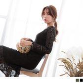 《DA4971-》滿版鏤空蕾絲素色洋裝.2色 OB嚴選