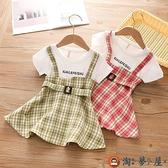 女童背帶裙子夏季小寶寶格子韓版兒童連身裙兒童洋裝【淘夢屋】