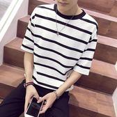 夏季2018新款條紋短袖T體恤韓版潮流學生百搭港風BF男裝五分袖 KB1071【野之旅】