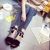韓版夏季新款 流蘇露趾交叉綁帶平跟平底鞋 中空羅馬鞋女涼鞋『韓女王』