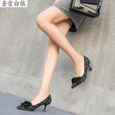 D8.Dgys高跟鞋仙氣女鞋ifashion蝴蝶結尖頭格子高更鞋細跟學生十