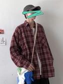 襯衫外套   男生長袖格子襯衫韓版寬鬆百搭潮流ins港風襯衣外套快速出貨