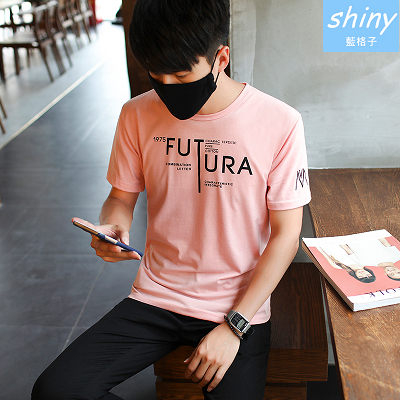 【Y157】shiny藍格子-休閒時尚.夏季FUTURA英文字母短袖上衣