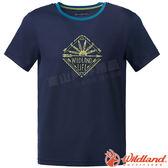 Wildland 荒野 0A61610-72深藍 男彈性棉感抗UV印花衣 抗紫外線/涼爽散熱/吸濕快乾/登山旅遊*