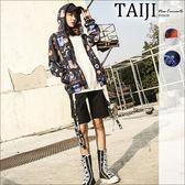 連帽外套‧情侶款潮流圖像印花風衣內裡連帽外套‧二色【NQB805】-TAIJI-