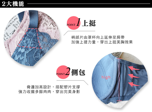 EASY SHOP-心跳蔓延 大罩杯C-F罩內衣(海灣藍)