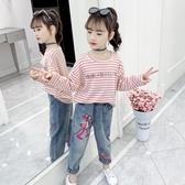 女童打底衫長袖2020新款秋裝兒童洋氣純棉上衣大童春秋條紋t恤潮 Korea時尚記
