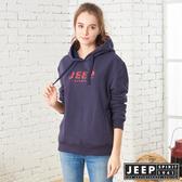 【JEEP】女裝 立體LOGO連帽長袖TEE (深藍)