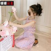 週年慶優惠-洋裝 女童夏裝童裝大童短袖公主裙新款假兩件裙兒童洋氣裙子