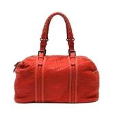 【特價28%OFF】BOTTEGA VENETA 紅色編織皮革手提肩背包 【二手名牌 BRAND OFF】