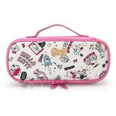 〔小禮堂〕Hello Kitty 皮質掀蓋式拉鍊筆袋《粉白.插圖》收納包.化妝包.鉛筆盒 4901610-24331