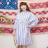 Poly Lulu 修身腰抽繩飛鼠袖條紋洋裝-淺藍【92310180】