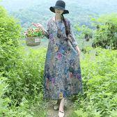 棉麻 唯美印花傘狀洋裝-中大尺碼 獨具衣格