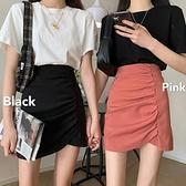 港味黑色褶皺短款半身裙2021春款女不規則高腰顯瘦新款包臀短裙夏 pinkq時尚女裝