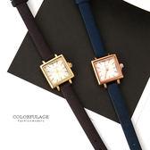 手錶 時尚簡約方型金殼腕錶 細版仿布面皮革錶帶 小鏡面設計相當輕巧 柒彩年代【NE1653】