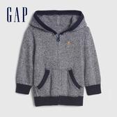 Gap嬰兒 混色簡約開襟連帽針織休閒上衣 592869-海軍藍