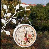 歐式田園靜音掛鐘小鳥站枝頭客廳鐵藝雙面鐘錶韓式圓形掛鐘錶  全館免運