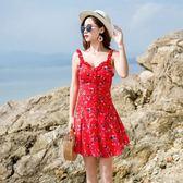 現貨度假洋裝!紅色小清新復古碎花抹胸吊帶連身裙沙灘(庫存清倉特價)32135紅粉佳人
