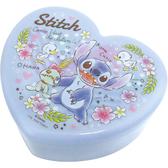 〔小禮堂〕迪士尼史迪奇愛心 塑膠掀蓋收納盒附鏡《藍花朵》飾品盒珠寶盒4548626 09874
