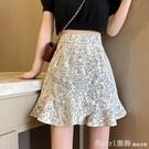 短裙 蕾絲碎花半身裙女高腰a字裙夏季2021新款設計感小個子包臀短裙子 618購物節