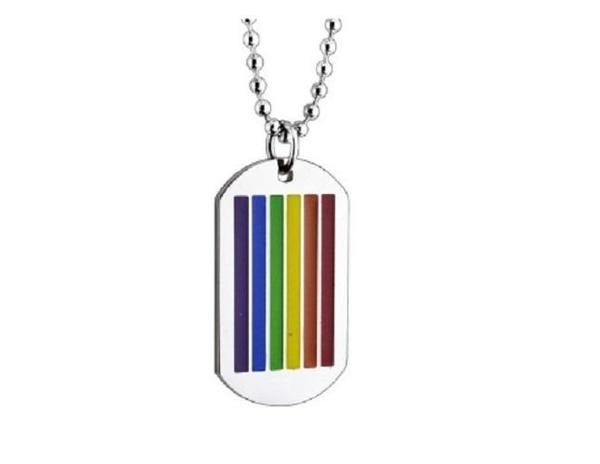 【NF273】Rainbow 彩虹吊墜 單吊牌 美軍項鍊 時尚配飾個性鈦鋼長款滴膠彩色吊墜男彩虹方牌項鍊