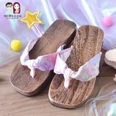 木屐少女日式日本防滑人字拖夏中國風夾腳平跟cos和風涼木拖鞋高