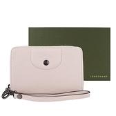 【南紡購物中心】LONGCHAMP LE PLIAGE CUIR系列新款小羊皮手掛式零錢夾(櫻花粉)