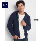 Gap男裝 簡約風格純色刷毛連帽休閒外套 122905-海軍藍