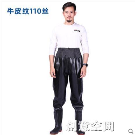超輕耐磨加厚防水齊腰下水褲水褲半身抓魚男雨褲帶雨鞋叉水庫連體 創意新品